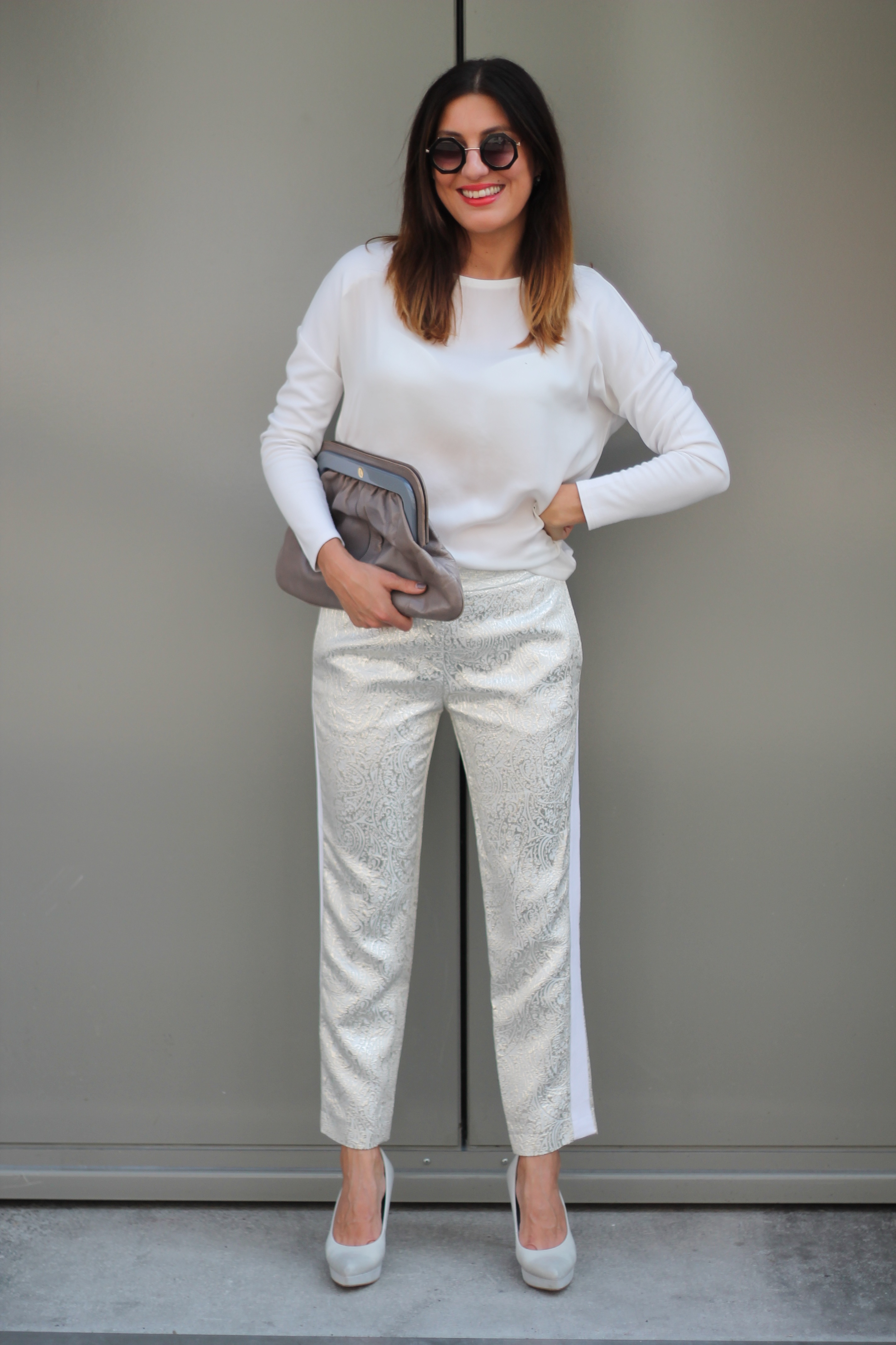 silver pants chic